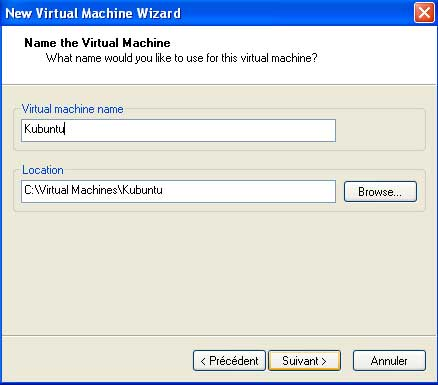 Nom de la machine virtuelle vmware