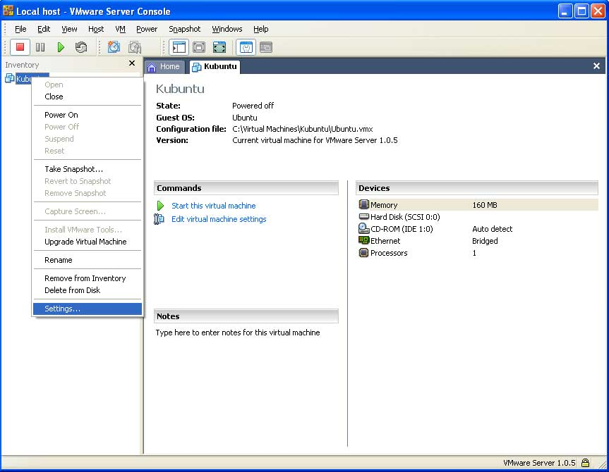 settings machine virtuelle vmware