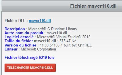MSVCP110.DLL TÉLÉCHARGER LE FICHIER
